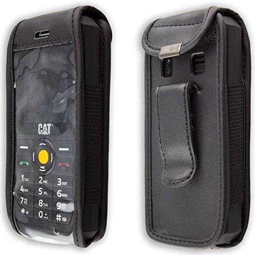caseroxx Handy-Tasche Ledertasche mit Gürtelclip für CAT B30 aus Echtleder, Handyhülle für Gürtel (mit Sichtfenster aus schmutzabweisender Klarsichtfolie in schwarz)