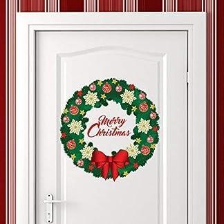 Wallflexi Pared Feliz Navidad Guirnalda de Navidad Decoraciones Pegatinas de Pared murales Adhesivos salón niños guardería Escuela Restaurante Cafe Hotel casa Oficina decoración, Multicolor
