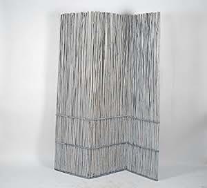 Paravent/weiden paravant gris clair, 3 x 59 x 190 cm