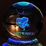 ZIXNXFY Spieluhr 12 Rotation Konstellation Spieluhr Kristallkugel LED Spieluhren Für Prinzessin Love Girl, A