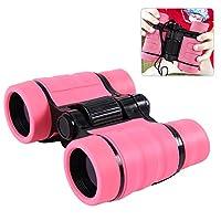 Samber Kids Shockproof Binoculars Outdoor Binoculars for Kids Children Folding Spotting Telescope Children High-Resolution Telescope Set Ideal for Children Kids (Pink)