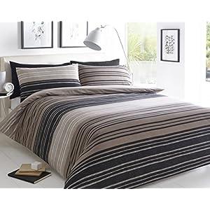 Sleepdown Textured Stripe Brown Duvet Cover & Pillowcase Set Bedding Quilt Case Single Double King Super King (KIng)