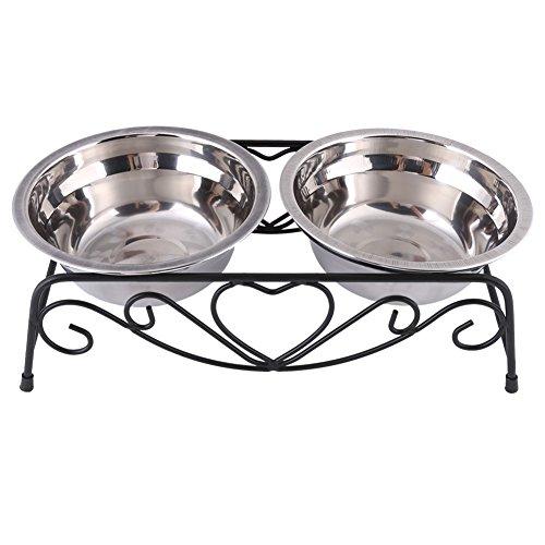 Ciotola doppia con supporto retro - in acciaio inox per animale domestico cane gatto alimentatore, con gommini antiscivolo, 13,5cm, argento