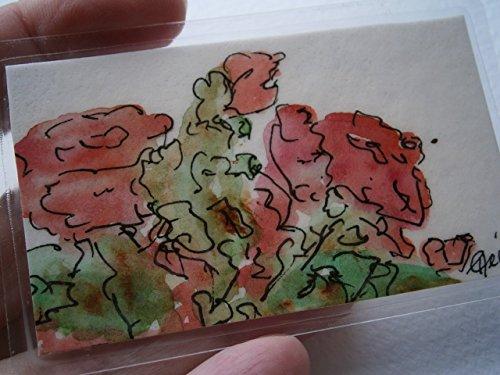 Aquarell Mini Blumenbild rote Sommerblumen handgemalt Original Miniatur laminiert Taschenkunst Lesezeichen als Geschenk, Geburtstagsgeschenk, Weihnachtsgeschenk