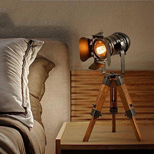 LYJ Schreibtisch-Leselampe Der Amerikanischen Retro- Hölzernen Kreativen Schlafzimmerstudie Teleskop-Nachttischtisch-Stativtischlampe