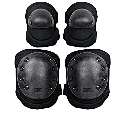 Black Heavy Duty Outdoor Military Tactical Knee & Elbow Protective Pads Support Set For Paintball Airsoft Adjustable Skate Knee Knee Pads