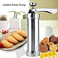 Cookie Press Pump Machine, Biscuit Maker Set Multifunctional Cookie Press Set with 1 Cookie Press & 4 Icing Tip Nozzle & 20 Flower Fondants, Kitchen Gift Decoration Kit