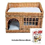 Woven 2 floor Cat Den Indoor Kitten Basket Bed Cushioned Snug Napping Lounging by Sams e Store