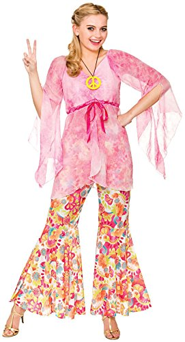 Ladies Pink 60's Groovy Hippie Fancy Dress Costume (60's Und 70's Fancy Dress Kostüm)
