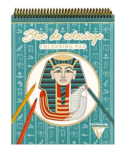 Clairefontaine 96178C - ein Spiralblock, 20 Blatt, 25 x 20 cm, 250 g (10 Designs x 2 Fles), Motiv Ägypten