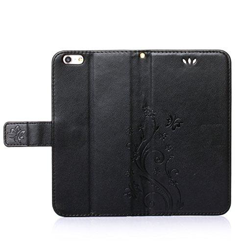 """MOONCASE iPhone 6S Hülle Blume Premium PU Leder Schutzhülle für iPhone 6 / 6S 4.7"""" Bookstyle Tasche Schale TPU Case mit Standfunktion Grau Schwarz"""