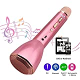 Microfono Wireless HooYL Microfono Karaoke Bluetooth Portatile Altoparlante Bluetooth 4.1 con 1800mAh 3.5mm AUX Compatibile con iOs Android PC Smartphone per il Karaoke Sing Oro rosa immagine