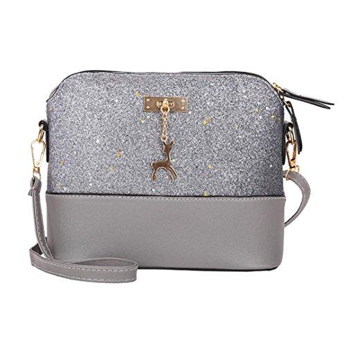 Clutch Aus Weißem Leder Handtaschen (Dragon868 Elegante Umhängetasche aus Leder | Arbeit Büro Clutch Damentasche Crossbody Damenhandtasche Freizeit Gurt Handtasche Rucksack Schule (Weiß) (Grau))