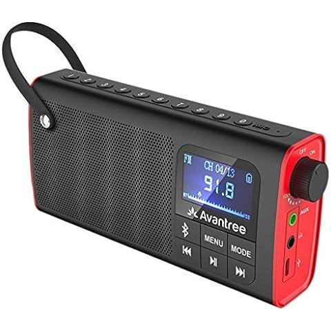 Avantree 3-en-1 FM Radio Altavoz Bluetooth y Reproductor Tarjeta SD, Auto Escaneo y Memoria de Emisora con Un Sólo Toque, Batería Remplazable, seis