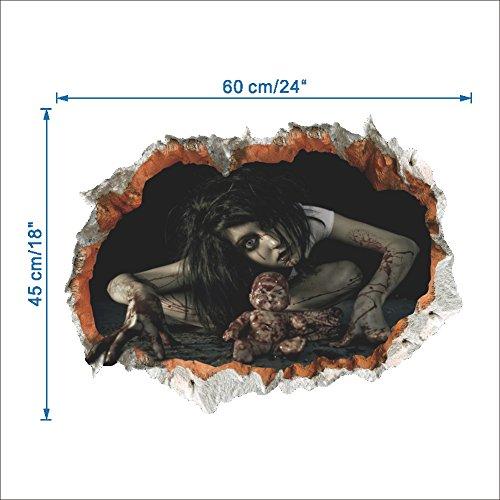 loween Room Wandaufkleber Horror Halloween Aufkleber Ghost Pattern Abnehmbare Abziehbild Mural Decor 60cm*45cm (A-1498) (Halloween-wandtattoos)