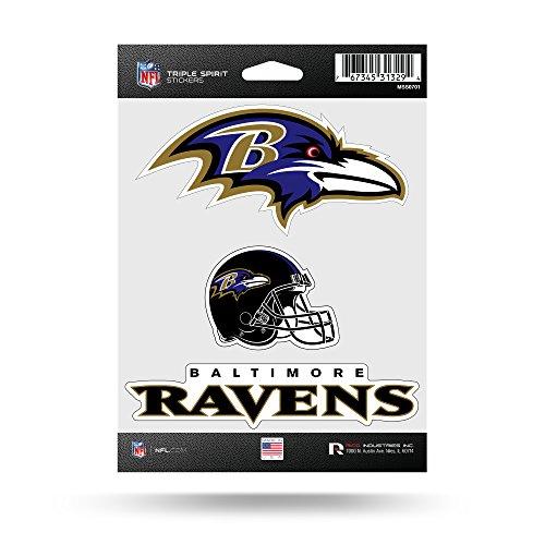 NFL Baltimore Ravens Die Cut 3-teiliges Triple Spirit Stickerbogen