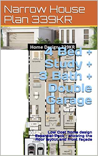 Narrow House Plan 339KR- 4 Bed + Study + 3 Bath + Double ...