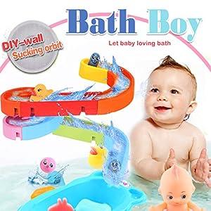 WISHTIME Kinder Wasser Dusche Badespielzeug – Badewanne Brunnen Spielzeug 3 Stackable and Nesting Cups,Submarines and Spout Wasserspielzeug für Kleinkind