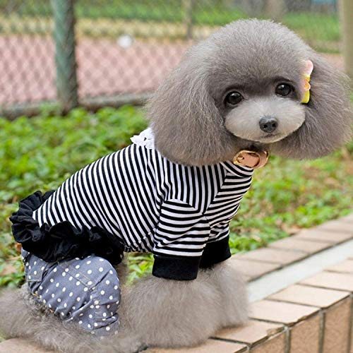 Milk Black Kostüm - Dog Clothes Striped Bottoming Shirt Small Dog Teddy pet Spring and Autumn Clothing small Milk Dog Chihuahua cat Clothes@Black_XS