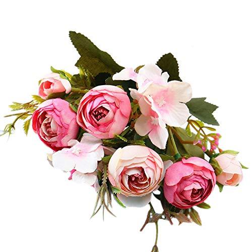 Lazzboy Unechte Blumen,Künstliche Deko Blumen Gefälschte Blumen Blumenstrauß Seide Wirkliches Berührungsgefühlen, Braut Hochzeitsblumenstrauß für Haus Garten Party Blumenschmuck #04(C)