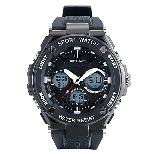 banduhr Duale Zeitzone Jungen Digital Analog Kalender LED Leuchtend Wasserdicht Sports Uhren für Jungs und Mädchen, Schwarz ()