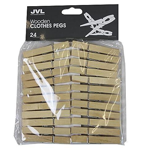 JVL Lot de 24 pinces à linge en bois robuste
