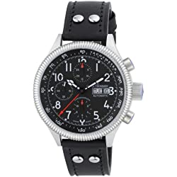 Revue Thommen Men's Automatic Watch Pilot Professional Chronograph 17060.6537 with Leather Strap