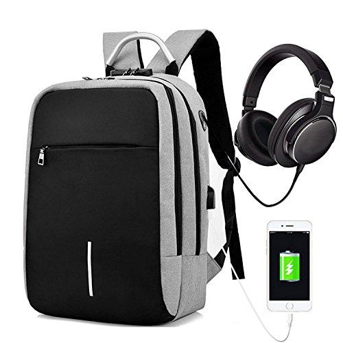 O'woda Zaino per PC 15.6 Pollici Laptop Impermeabile Anti-furto con Porta di Ricarica USB e Foro per Cuffie,Zaino Uomo Donna per Scuola, Business, Viaggio, attività All'aperto (Grigio)