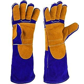 HOGAR AMO Leder Schweißen Handschuhe Hitzebeständigkeit Anti-Kratzer Schnitt Resistent/Perfekte Wahl der Blockierung Hitze und Schützen Ihre Hände (16 Inch / 40 CM) Blau