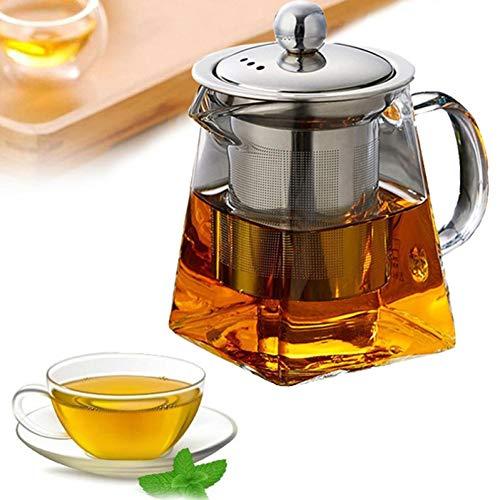 NGCSH Teekanne Hitzebeständige Glasteekanne Mit Edelstahl-Infusor, Beheizter Behälter, Teekanne, Guter Klarer Wasserkocher, Quadratische Filterkörbe (Blueberry-geschmack Für Kaffee)