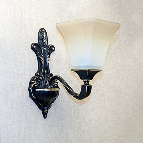 QFF High End Luxuriöser europäischer Stil Alle Bronze Wandleuchte Retro Schlafzimmer Wohnzimmer Lichter Doppel Kopf/Single Kopf Nachttisch Lampe (größe : #1) - Bronze Doppel-post