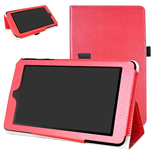 Nook Tablet 7 2016 Tasche, Mama Mouth PU Leder Folio 2-folding Stand Cover für 17,8 cm Barnes & Noble Nook 7 bntv450 Andriod Tablet 2016, rot - Nook Tablet Nook Tasche Oder Farbe