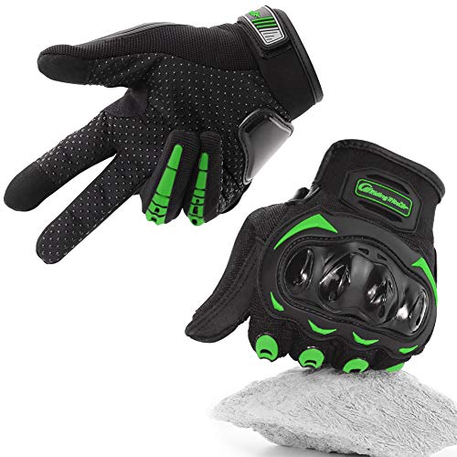 COFIT Guantes de Motos, Guantes de Pantalla Táctil Full Touch para Carreras de Motos, MTB, Escalada, Senderismo y Otros Deportes al Aire Libre - Verde L