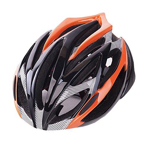 LBY Erwachsene Fahrradhelm 21 Vents schlagfest, Verstellbare Passform, Abnehmbare Visier EPS, PC Rennrad/Berg Dual Purpose Helm, Orange Black, l