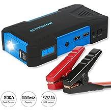 Superpow 800A Batería Arrancador de Coche, 18000mAh Jump Starter Portátil con Pinzas Inteligentes, Pantalla LCD, LED, USB Puertos para Emergencia Smartphones Vehículos ( Hasta 5.2L de Diesel o 6.5L de Gasolina)