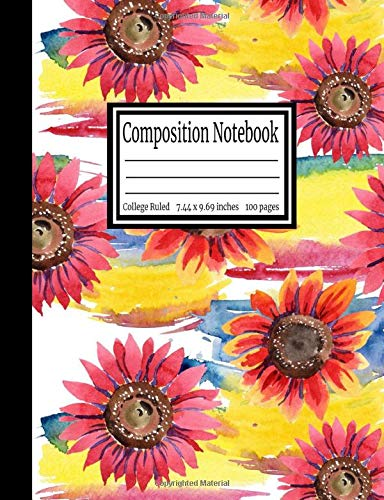 Composition Notebook: College Ruled 7.44 x 9.69 in, 100 page book for girls, kids, school, students and teachers (Pflanze Tablet)