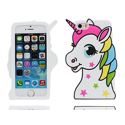 iPhone 5 Custodia, Copertura Premium TPU Nuovo design durevole Prezzo basso in iPhone 5S case 3D Unicorno per iPhone 5 5s SE 5C 5G ( Nero ) bianca