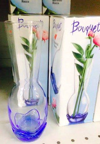 Vaso portafiori bouquet h. cm 19 azzurro porta fiori in vetro vasetto monofiore