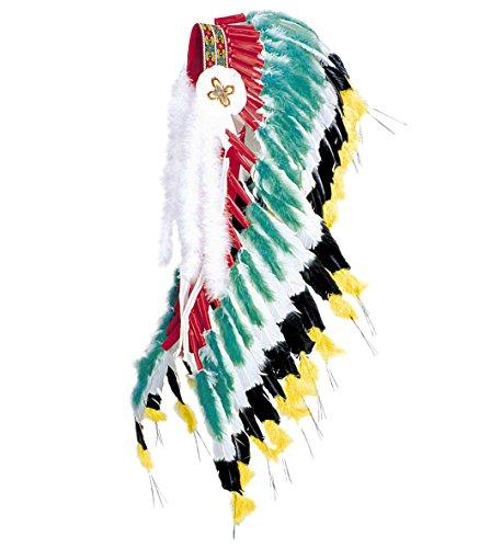 Preisvergleich Produktbild Indianer-Kopfschmuck Wilder Westen, grün, Häuptlings-Federschmuck mit echten Federn