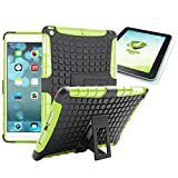 Wigento Hybrid Outdoor Schutzhülle Cover Schwarz/Grün für iPad Air 1 (Nicht Air 2) Tasche Case + 0.4 mm H9 Tempered Panzerglas Folie
