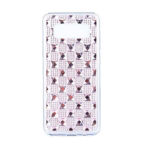 Coque Galaxy Note 8 Shiny,Coque Rigide pour Samsung Galaxy Note 8,Ekakashop Creative Transparente Clair Diamant Violet Brillant Cover Bling Strass Soft TPU Silicone Crystal Clair Souple Gel Housse de  Diamant Rose
