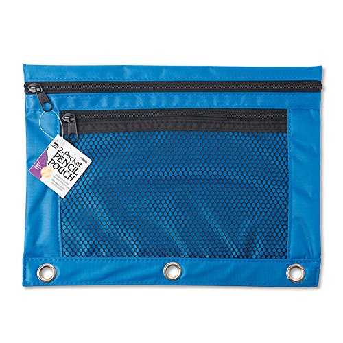 One CLI 2-Pocket PENCIL POUCH #76350 (Color: Blue, Quantity: 1), for 3-ring binders by Charles Leonard