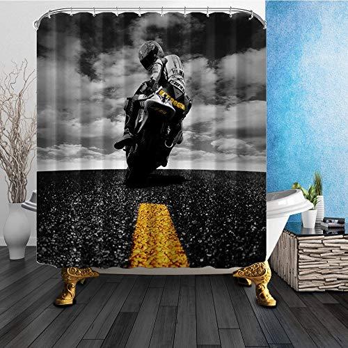 GAOFENFFR EIN Mann, der EIN Motorrad fährt 180X180CM Mehltau-beständiger Polyester-Duschvorhang-Satz Fantastische Dekorationen Badvorhang