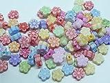 50 Blume Perle Schmuck basteln Kinder Pastell bunt SaWi 7mm Mix
