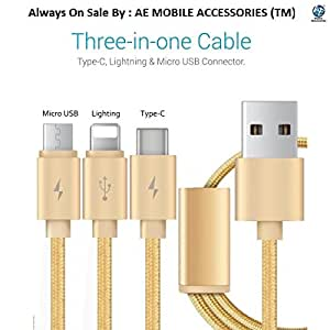 AE MOBILE ACCESSORIES 3-in-1 Type C USB Charging Cable with Connector