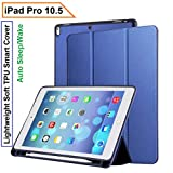 #4: Oaky Newest iPad 10.5 Inch 2017 case with Pencil Holder Shockproof Lightweight Soft TPU Folio Smart Back Cover and Trifold Stand with Auto Sleep/Wake, Protective, Magnet protective Function Perfect Match for Apple iPad 10.5 2017 with Built-in Apple Pencil Holder (A1701/A1709) – Blue