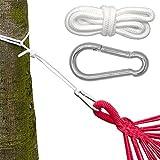 Befestigung für Hängematte Hängeliegen  Hängematten Befestigung  Komplettset inkl. Karabinern Seilen  Belastbarkeit max. 160KG
