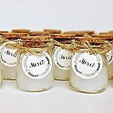 24 Bougies dans un pot en verre, avec étiquette MERCI, ficelle et couvercle en liège. Idée cadeau invités mariage & Accessoire mariage