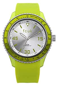 French Connection Men's Quartz Watch with Green Dial Analogue Display and Green Silicone Strap FC1103NN