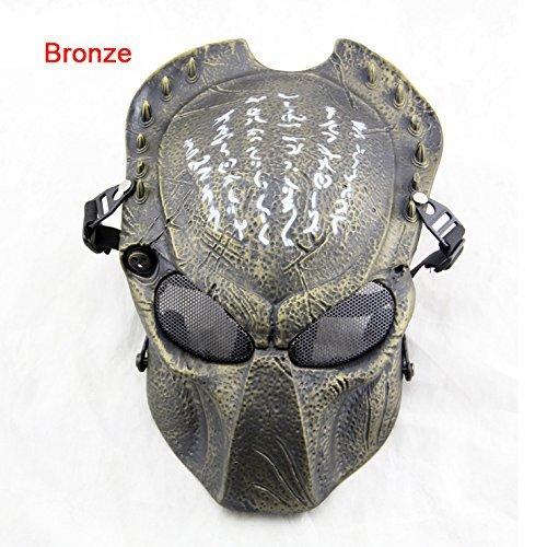 ATAIRSOFT Alien Vs. Predator Schutzmaske Airsoft Halloween Scary Maske Vollgesichtsmaske CS Paintball Maske für Cosplay Masquerade Bronze